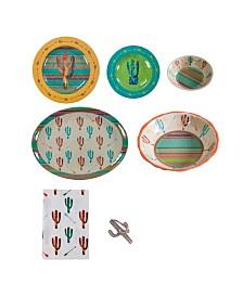 HiEnd Accents Cactus Melamine 25 Piece Set, Service for 4