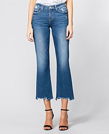 Mid Rise Broken Hem Relaxed Crop Flare Jeans