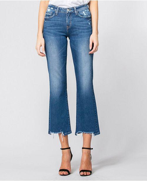 FLYING MONKEY Mid Rise Broken Hem Relaxed Crop Flare Jeans