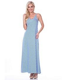 Women's Backless Striped Maxi Dress