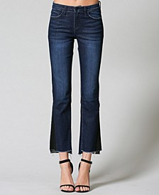 Mid Rise Step Hem Contrasted Side Panel Crop Mini Flare Jeans