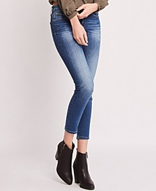 Mid Rise 3D Front and Back Whiskers Crop Skinny Jeans