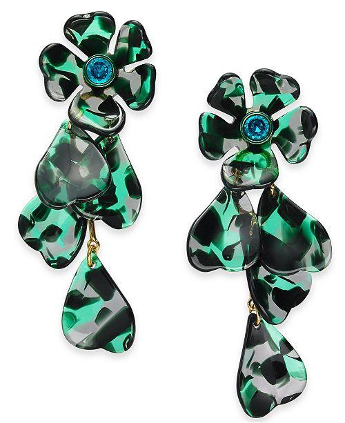 kate spade new york Gold-Tone Pavé Flower Linear Drop Earrings