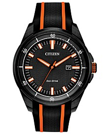 Drive From Eco-Drive Men's Black Silicone Strap Watch 45mm