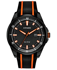 Drive From Citizen Eco-Drive Men's Black Silicone Strap Watch 45mm