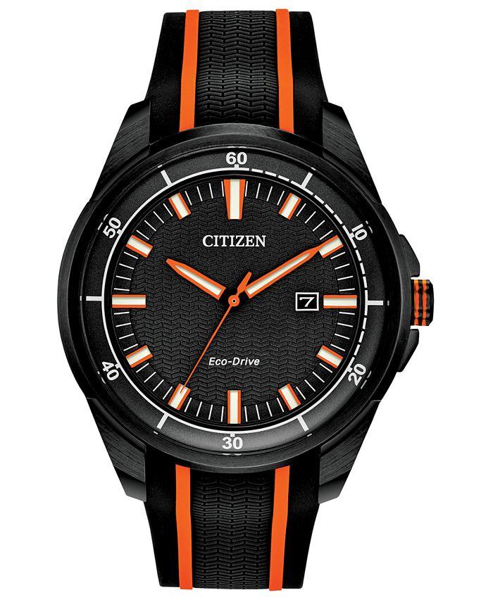 Citizen - Men's Black Silicone Strap Watch 45mm