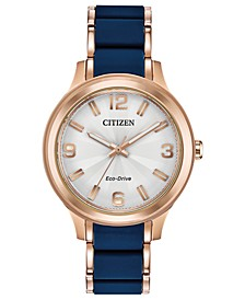 Drive From Eco-Drive Women's Rose Gold-Tone Stainless Steel & Blue Silicone Bracelet Watch 36mm