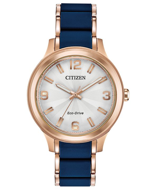 Citizen Drive From Eco-Drive Women's Rose Gold-Tone Stainless Steel & Blue Silicone Bracelet Watch 36mm