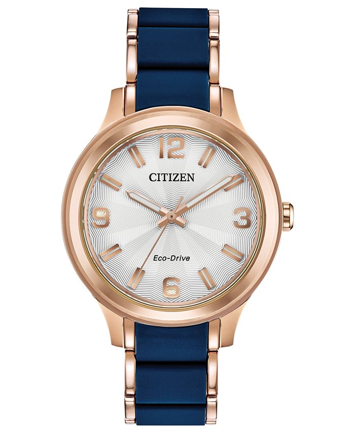 Citizen - Women's Rose Gold-Tone Stainless Steel & Blue Silicone Bracelet Watch 36mm