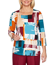 Alfred Dunner Classics  Printed Studded-Neck Top