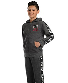 Big Boys Wyatt Full-Zip Fleece Logo Hoodie