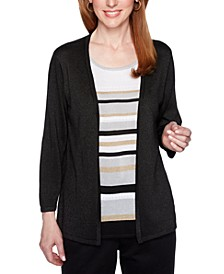 Classics Striped Metallic Layered-Look Sweater