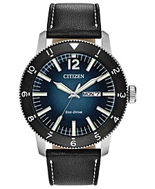 Eco-Drive Men's Brycen Black Leather Strap Watch 44mm
