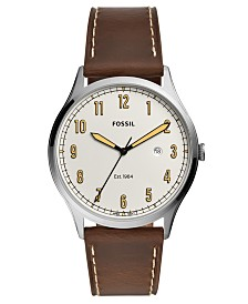 Fossil Men's Forrester Brown Leather Strap Watch 42mm