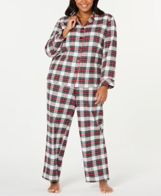 Matching Plus Size Stewart Plaid Flannel Pajama Set, Created For Macy's