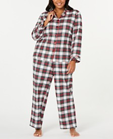 Matching Family Pajamas Plus Size Stewart Plaid Flannel Pajama Set, Created For Macy's