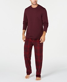 Club Room Men's Plaid Fleece Pajama Set, Created for Macy's