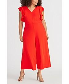 Trendy Plus Size Cropped Wide-Leg Jumpsuit