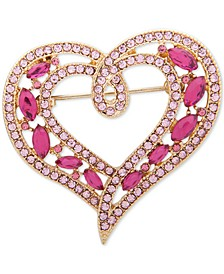 Gold-Tone Pavé & Stone Double-Row Heart Pin, Created for Macy's