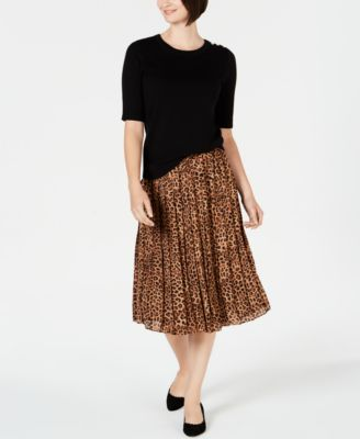 Petite Printed Pleated A-Line Skirt, Created for Macy's