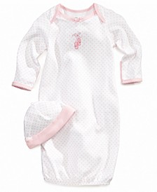 Baby Girls Ballet Hearts Gown and Beanie Set