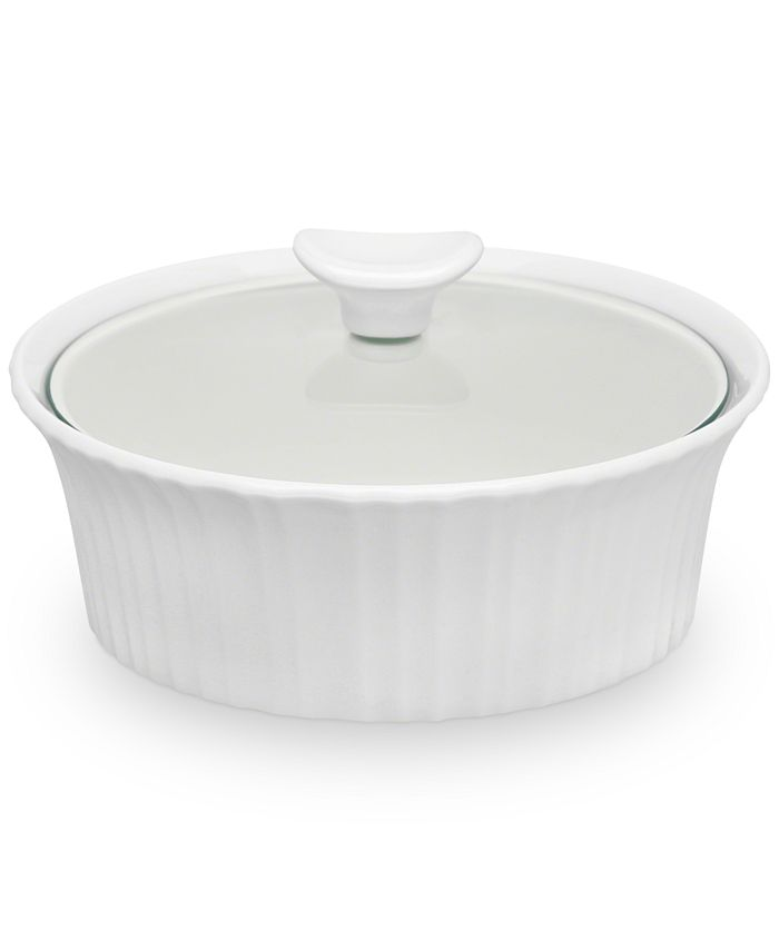 Corningware - French White 1.5-Qt. Round Casserole with Glass Lid
