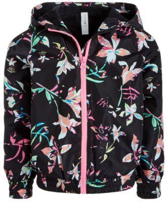 Little Girls Floral-Print Hooded Windbreaker Jacket, Created for Macy's