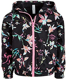 Little Girls Floral-Print Hooded Windbreaker Jacket, Created for Macy's
