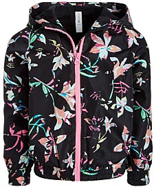 Ideology Little Girls Floral-Print Hooded Windbreaker Jacket, Created for Macy's
