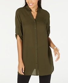 Alfani Roll-Tab Tunic Shirt, Created for Macy's
