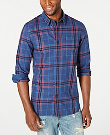 Men's Contrast Trim Plaid Shirt, Created for Macy's