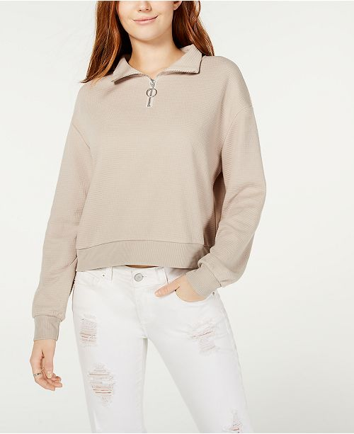 Crave Fame Juniors' Waffle-Knit Quarter-Zip Top
