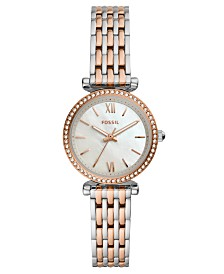 Fossil Women's Mini Carlie Two-Tone Stainless Steel Bracelet Watch 28mm