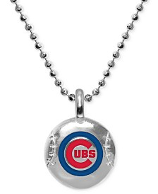 """Alex Woo Chicago Cubs 16"""" Pendant Necklace in Sterling Silver"""