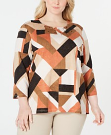 Alfred Dunner Plus Size Street Smart Printed Embellished Top