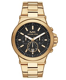 Michael Kors Men's Chronograph Dylan Gold-Tone Stainless Steel Bracelet Watch 45mm