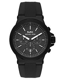 Michael Kors Men's Chronograph Dylan Black Silicone Strap Watch 45mm