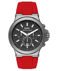 Michael Kors Men's Chronograph Dylan Red Silicone Strap Watch 45mm