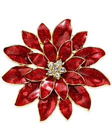 Gold-Tone Crystal & Glitter Epoxy Poinsettia Pin, Created for Macy's