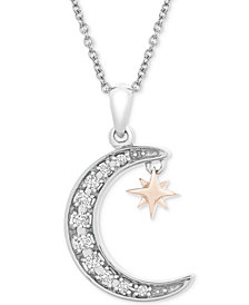 """Diamond Crescent Moon & Star 20"""" Pendant Necklace (1/10 ct. t.w.) in Sterling Silver & 14k Gold-Plate"""