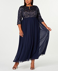 Plus Size Embellished A-Line Gown