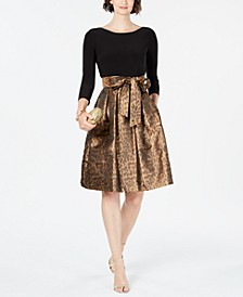Solid & Animal-Print Fit & Flare Dress