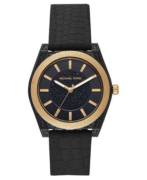 Michael Kors Women's Channing Black Silicone Strap Watch 40mm