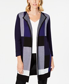 Kasper Colorblocked Open-Front Cardigan