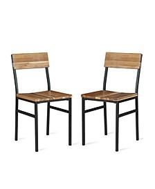 NovoGratz Linden Wood and Metal Dining Chair, 2-Pack