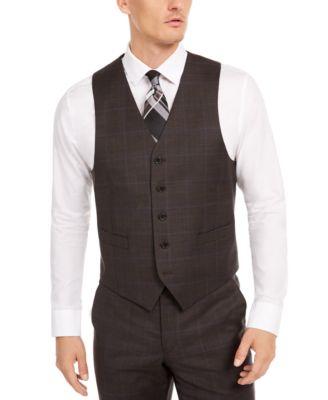 Men's Classic-Fit UltraFlex Stretch Brown/Blue Windowpane Suit Separate Vest
