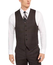 Lauren Ralph Lauren Men's Classic-Fit UltraFlex Stretch Brown/Blue Windowpane Suit Separate Vest