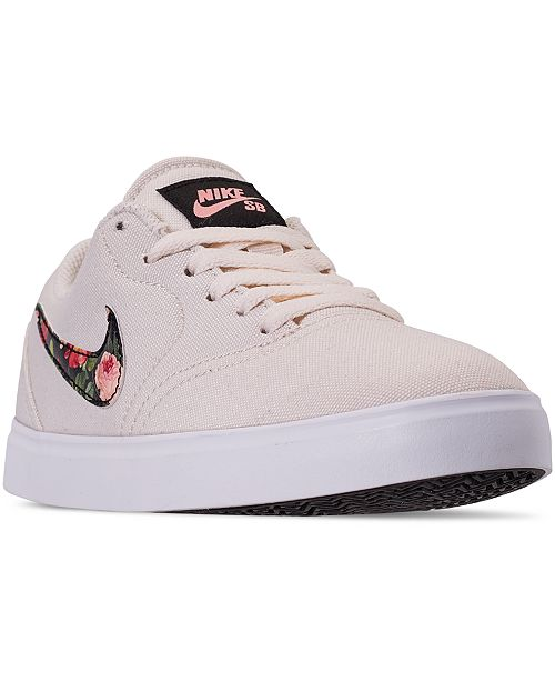 Nike Big Girls SB Check Canvas Vintage Floral Skateboarding Sneakers from Finish Line