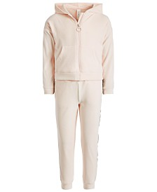 Ideology Little Girls Velour Zip-Up Hoodie & Side-Taped Velour Sweatpants, Created for Macy's