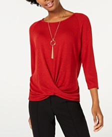 BCX Twist-Hem Necklace Top